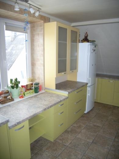 Žali ir geltoni virtuvės baldai